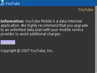 Youtube mobile warning
